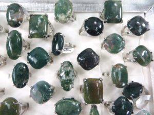 chunky green agate gemstone fashion rings