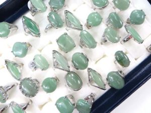 chunky green agate gemstone fashion rings