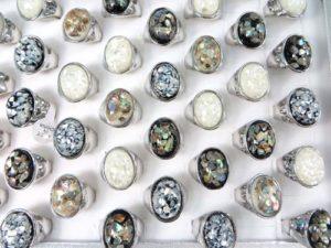 vintage chunky seashell fashion rings