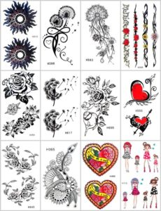 rose dandelion heart temporary tattoo Our warehouse staffs will randomly choose assorted designs shown on the pictures. Sexy and cool designs such as rose, heart, medallion mandala, cross, moon stars, dandelion, tramp stamp, and more.