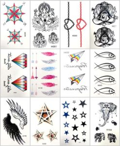 star of David infintiy Ganesha temporary tattoo Our warehouse staffs will randomly choose assorted designs shown on the pictures. Sexy and cool designs such as Ganesha, fish, infinity, stars, diamond, star of David, Indian elephant and more.