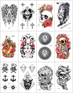 skull angel wing anchor temporary tattoo Our warehouse staffs will randomly choose assorted designs shown on the pictures. Sexy and cool designs such as sugar skull, cross, angel wing, mandala and more.