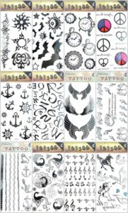 12 sheets angel wing horse anchor temporary tattoo Quantity: 12 sheets (Our warehouse staffs will randomly choose assorted designs shown on the pictures) Sexy and cool designs such as angel wing horse anchor bat peace music note and more.