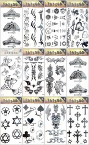 12 sheets heart pentagram cross temporary tattoo Quantity: 12 sheets (Our warehouse staffs will randomly choose assorted designs shown on the pictures) Sexy and cool designs such as crown heart pentagram cross tramp stamp and more.