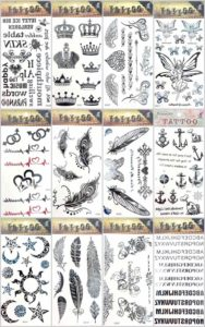 12 sheets crown heart anchor temporary tattoo Quantity: 12 sheets (Our warehouse staffs will randomly choose assorted designs shown on the pictures) Sexy and cool designs such as feather sun moon crown heart anchor and more.