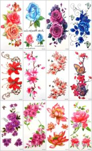 12 sheets rose flower lotus temporary tattoo Quantity: 12 sheets (Our warehouse staffs will randomly choose assorted designs shown on the pictures) Sexy and cool designs such as rose flower lotus and more.