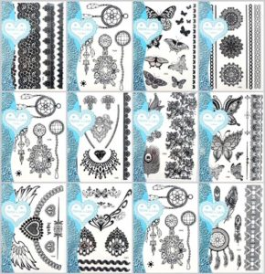 black lace boho temporary tattoo Our warehouse staffs will randomly choose assorted designs shown on the pictures Sexy and cool designs such as anklet, armband, bracelet, wrist band, boho floral, retro vintage wide lace, mandala, paisley, dreamcatcher, butterfly, necklace, angel wing, and more.