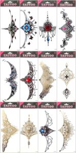 sternum temporary tattoo underboob sideboob Underbreast tat Our warehouse staffs will randomly choose assorted designs shown on the pictures Sexy and cool designs such as flash metallic, rose, skull, bohemian stars flowers and more.