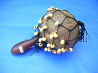 coconut shaker maracas rattle with white beads