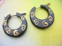 Swirl Painting Pincher Hoops Thorn Style Wood Earrings