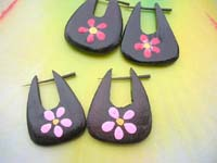 flower painting natural handmade tribal wooden pin earring