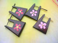 tribal organic earring pin stick with flower painting