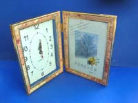 Brown tone color picture frame with clock