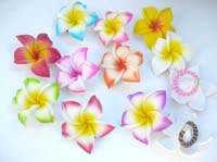 Handpainted foam plumeria flower hair tie. Handmade in Indonesia
