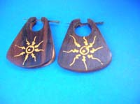 Purse shape tattoo sun wooden earring