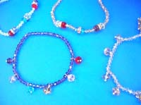 Assorted rhinestone stretchy dangle anklets