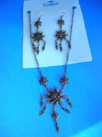 Bronze color fashion flower jewelry set