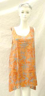 Bali rayon sleeveless sun dress with slightly angel cut bottom.