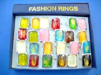 Assortment of shiny foil made enlarge beaded fashion ring