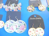 dangle-pierced-hook-earrings-1d-painted-flower-butterfly