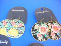 dangle-pierced-hook-earrings-1e-painted-flower-butterfly