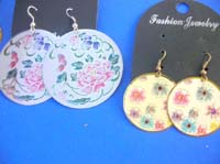 dangle-pierced-hook-earrings-1g-painted-flower-butterfly