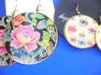 dangle-pierced-hook-earrings-1h-painted-flower-butterfly