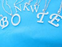 Clear cz alphabet long chain necklace