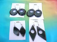 Assorted black paint wood earring