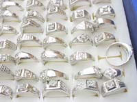 wholesale cz jewelry, silver plated fashion rings with cz in center