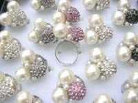wholesale pearl rings jewelry, faux pearl and cz crystal balls ring