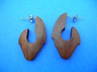 Fine coconut wood V shaped carved earrings for pierced ears