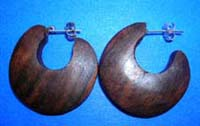 Half moon carved wooden earrings