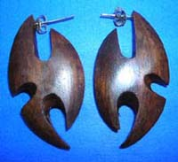 Tribal artwear pattern wooden earrings