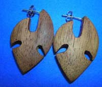 Native arrowhead motif wood earrings