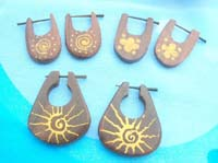 wooden peg earrings with tribal paintings
