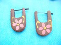 flower wood peg ear rings
