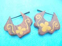 foral yellow painting wooden earlets