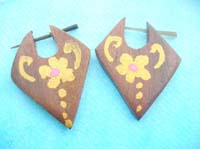 Pin style earring organic wooden jewelry yellow handpainted flowers