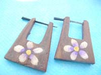 white purple florals wooden pin style organic tribal earrings