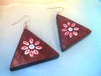 Triangle red painting flower french hook earring