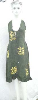 Summer rayon dress with butterfly knot on front and fashion X tie at the back