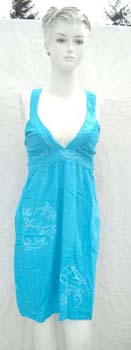 Ladies summer  tank dress with low V and racer back styled straps design