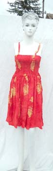 Rayon stamped pattern fashion strap dress