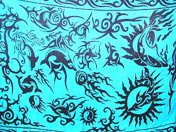 Blue With Turquoise Tones Horses Celtic Sarong