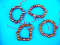 Tan and brown colored agate stone bead bracelet