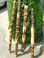Bali bali didgeridoo with fire burning design on bamboo