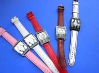 Stylish faux leather band on ladies large face watch