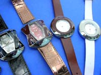Art inspired fashion watch with imitation leather band