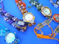 Fun beaded bracelet on summer watch with clear gems inlaid in clock face